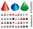 Set vector illustration of cones - stock vector