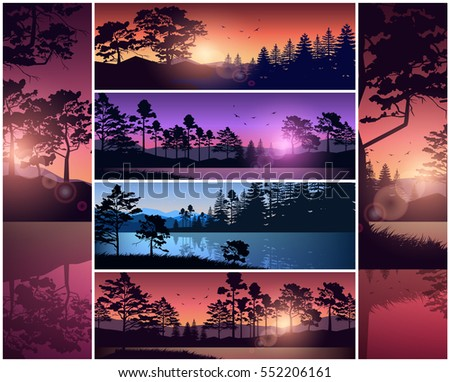 Set vector illustration of nature background header title website. Mountains lake landscape silhouette tree blue sky red sunset sunrise river. Banner horizontal vertical slider menu image backdrop