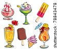 set vector images of cold drinks and ice cream - stock vector