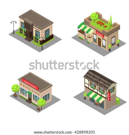 Set vector isometric city building pub, cafe, restaurant. Isometric icon or infographic element pub, cafe and restaurant on white background. - stock vector