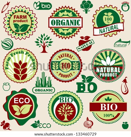 set vector labels and emblems of natural and bio products - stock vector