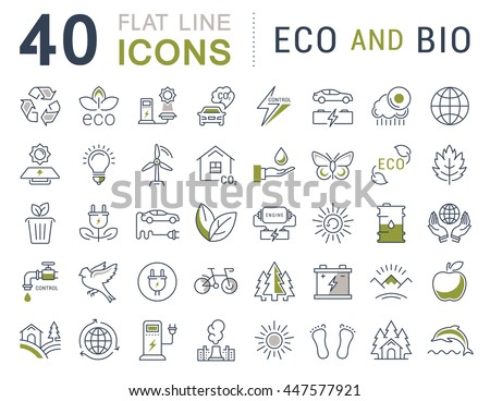 Set vector line icons in flat design eco and bio, organic and recycling with elements for mobile concepts and web apps. Collection modern infographic logo and pictogram. - stock vector