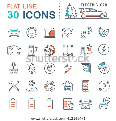 Set vector line icons in flat design electric cars and eco transport with elements for mobile concepts and web apps. Collection modern infographic logo and pictogram. - stock vector
