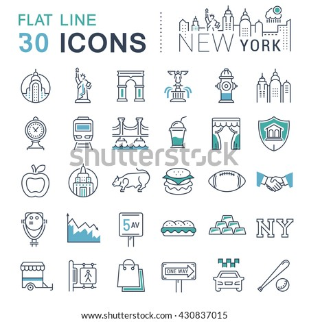 Set vector line icons in flat design New York and USA with elements for mobile concepts and web apps. Collection modern infographic logo and pictogram. - stock vector