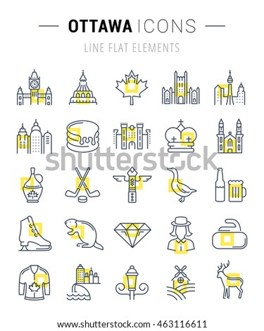 Set vector line icons in flat design Ottawa, Canada and North America with elements for mobile concepts and web apps. Collection modern infographic logo and pictogram.