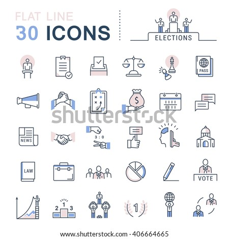 Set vector line icons in flat design voting and elections. Collection politics symbol with elements for mobile concepts and web apps. Collection modern infographic logo and pictogram. - stock vector