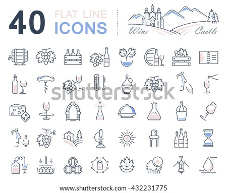 Set vector line icons in flat design wine making, grape cultivation, tasting, storage and sale of wine with elements for mobile concepts and web apps. Collection modern infographic logo and pictogram. - stock vector