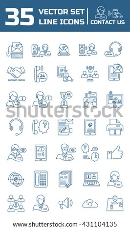 Set vector line icons in flat design with support center elements for mobile concepts and web apps. Collection modern infographic logo and pictogram.