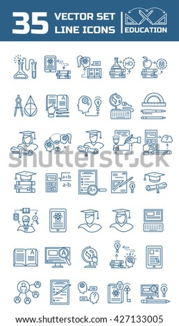 Set vector line icons school and education in flat design with elements for mobile concepts and web apps. Collection modern infographic logo and pictogram. - stock vector