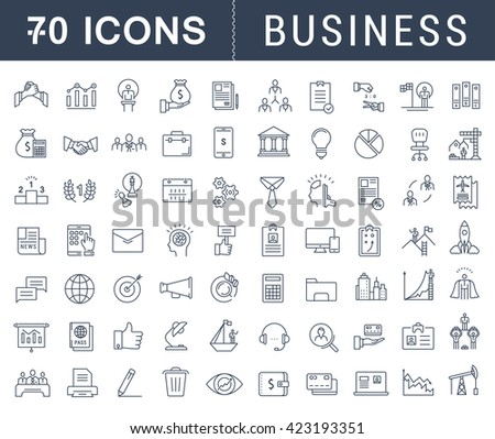 Set vector line icons with open path business, finance and teamwork with elements for mobile concepts and web apps. Collection modern infographic logo and pictogram - stock vector