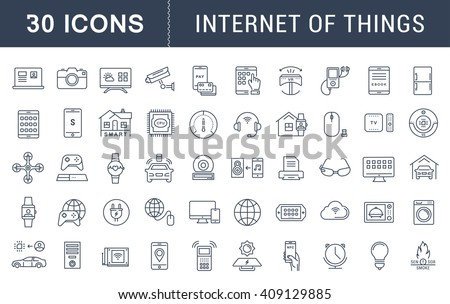 Set vector line icons with open path internet of things and smart gadgets with elements for mobile concepts and web apps. Collection modern infographic logo and pictogram - stock vector