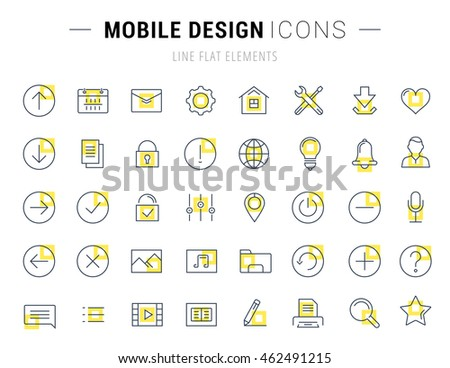 Set vector line icons with open path mobile design and development with elements for mobile concepts and web apps. Collection modern infographic logo and pictogram.