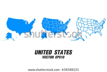 Set Vector Maps Vector Map United Stock Vector - Us map eps