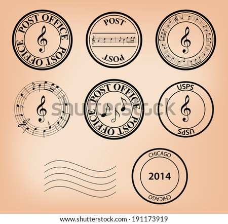 set - vector music post stamps. Eps 8. - stock vector