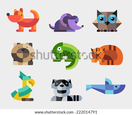 Set vector of flat design geometric animals icons