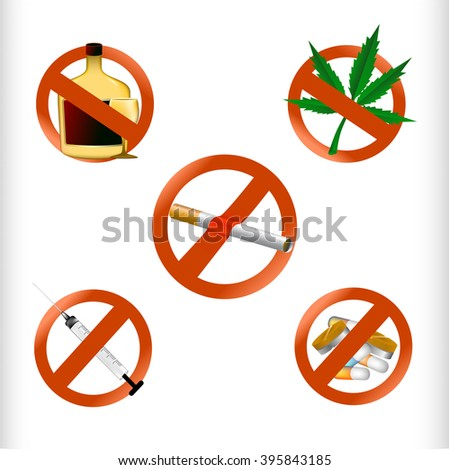 Set Vector of No drugs sign