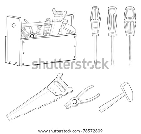 Set vector operating tools, contours: hammers, saws, pliers, screwdrivers and wooden box - stock vector