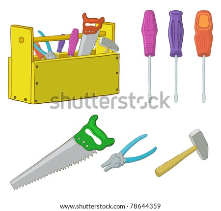 Set vector operating tools: hammers, saws, pliers, screwdrivers and wooden box - stock vector