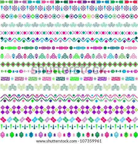 set vector pattern including ethnic motifs with multicolored elements - stock vector