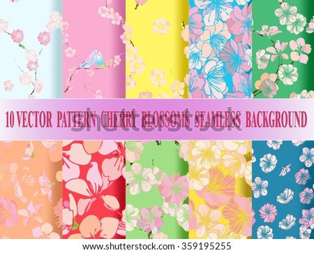 Set vector seamless cherry blossom background