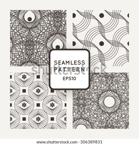 Set vector seamless pattern of interlocking lines and points - stock vector