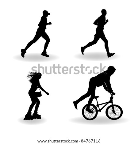 Set vector silhouette of roller skating, bicyclist, runner - stock vector