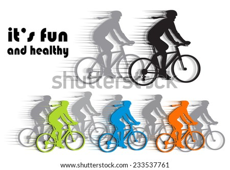 set vector silhouettes cyclists, (bike to work). isolated - stock vector