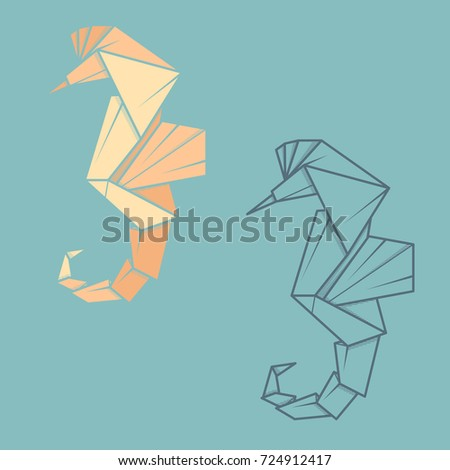 Set Vector Simple Illustration Paper Origami And Contour Drawing Of Sea Horse