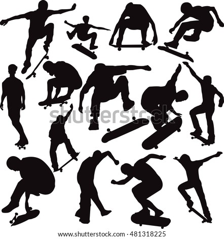 Set vector skateboarders silhouettes