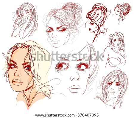 set VECTOR  stylish  original hand-drawn graphics portrait  with beautiful young attractive girl model for design. Fashion, style,    beauty . Graphic, sketch drawing. Sexy  woman