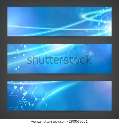 set vector technology chemistry banner vector background for web or print. layered. editable. - stock vector