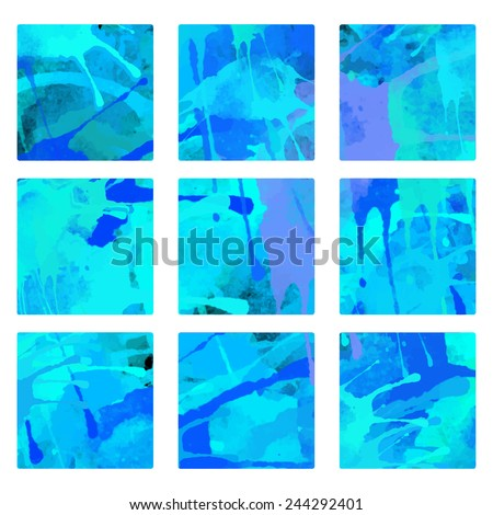 Set vector watercolor backgrounds with splash in blue colors, blocks, square. Sea water, paint stains isolated. Art abstract