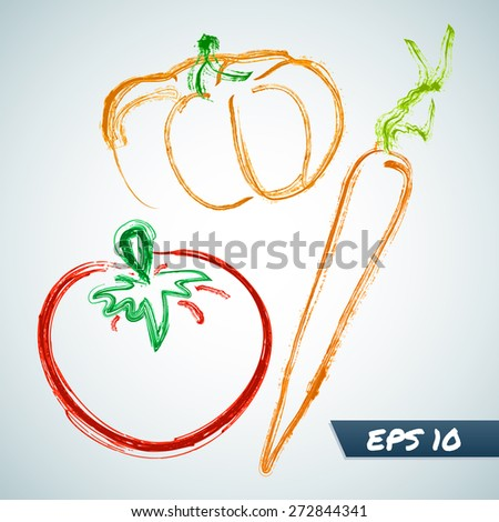 Set vegetables in grungy style. Vector illustration - stock vector