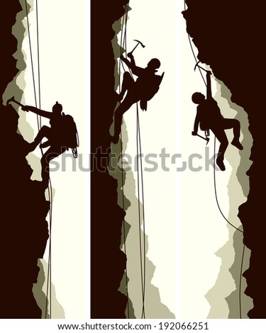 Set vertical abstract banners of alpinists (climbers) with ice ax. - stock vector