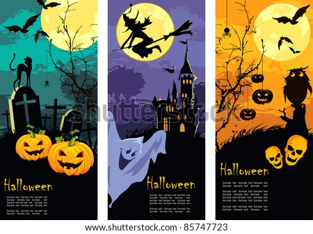 Set vertical Halloween banners - stock vector