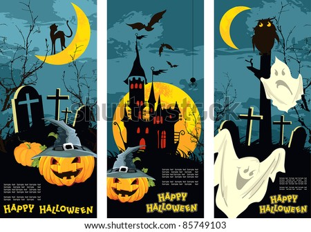 Set vertical Halloween banners - stock vector