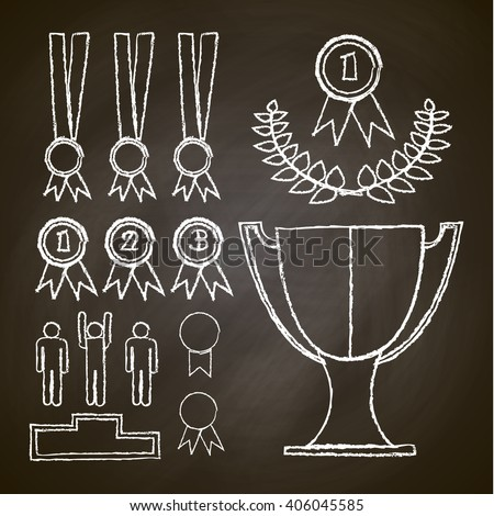 set victory , chalk drawing , medal, vector graphics