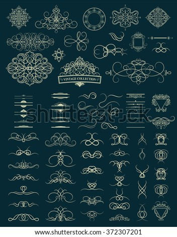 Set vintage borders, frame and rosette. Decoration for logo, wedding album or restaurant menu. Ornate swirl leaves, label, curved lines and decor elements in vector. - stock vector