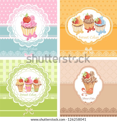 Set Vintage card with cupcakes - stock vector