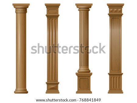 Wooden pillar stock images royalty free images vectors for Architectural wood columns