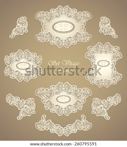 Set vintage frames and border in Antique style pearly beige colors for invitation or congratulation or for restaurant menu or for package perfume, cosmetic, jewelry or for label   - stock vector