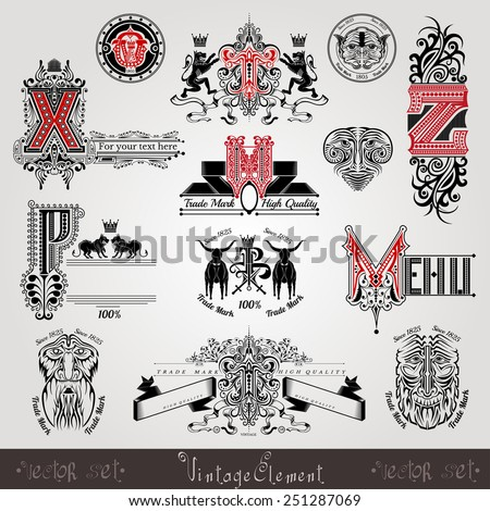 set vintage heraldic labels and capital letter with pattern and animals - stock vector