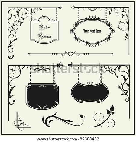 Set vintage iron signboard and floral decoration elements. Vector illustration. - stock vector