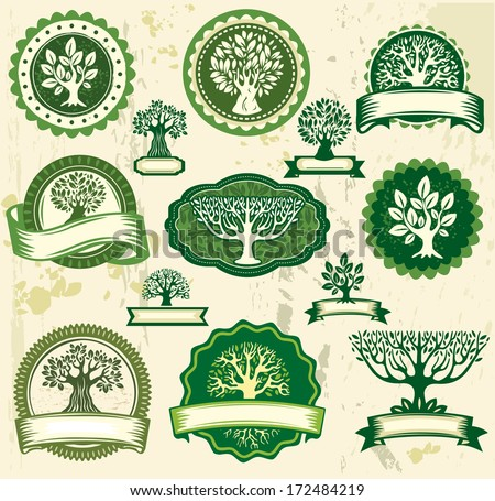 Set vintage labels with trees - stock vector