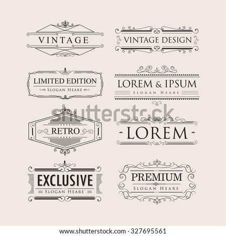 Set vintage luxury calligraphy flourishes elegant logos badges vector - stock vector