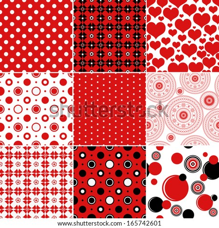 Set vintage patterns classic red, white and black colors (vector) - stock vector