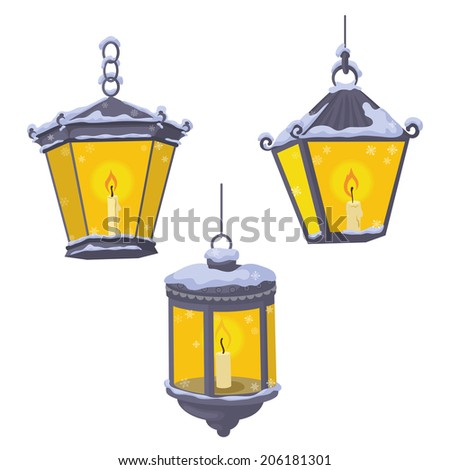 Set vintage street lights lanterns which burning candles in the snow. Vector - stock vector