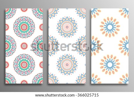 Set vintage universal different seamless eastern patterns (tiling). Endless texture can be used for wallpaper, web page background, surface clothes, scrapbooking, cardmaking. Retro geometric ornament.