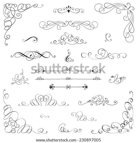 Set: Vintage vector frame, border, divider, corner. Retro elements collection. Page decor elements for calligraphy design - stock vector