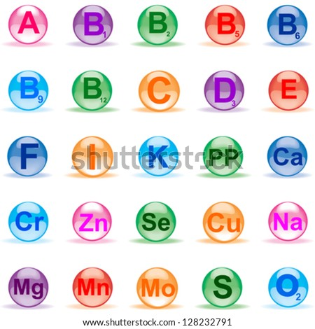 Set Vitamins isolated on White background. Vector illustration - stock vector